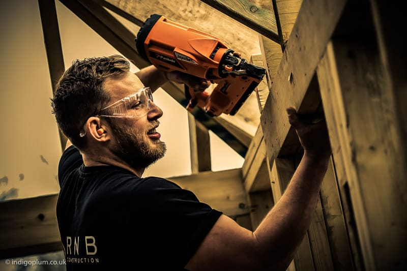 Construction photography of roof assembly in Hertfordshire