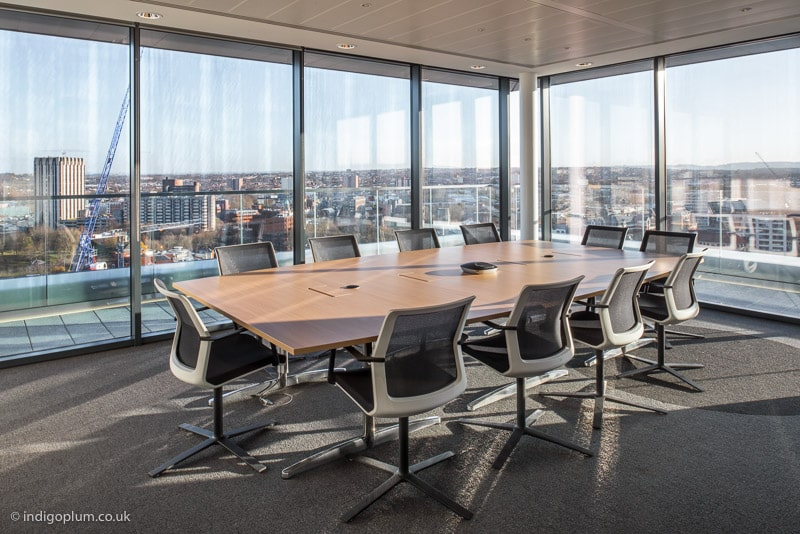 Interior photography of office boardroom in London